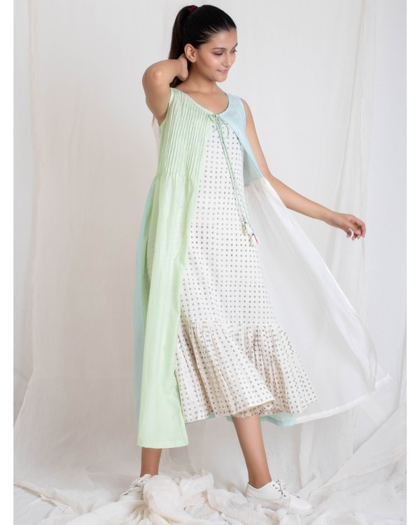 Aqua and light green panel jacket and tiered dress set- Set Of Two 2