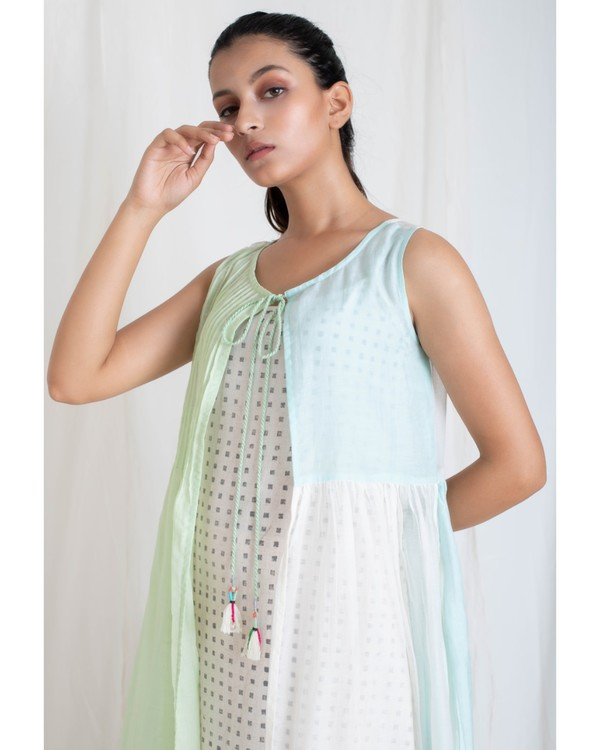 Aqua and light green panel jacket and tiered dress set- Set Of Two 1