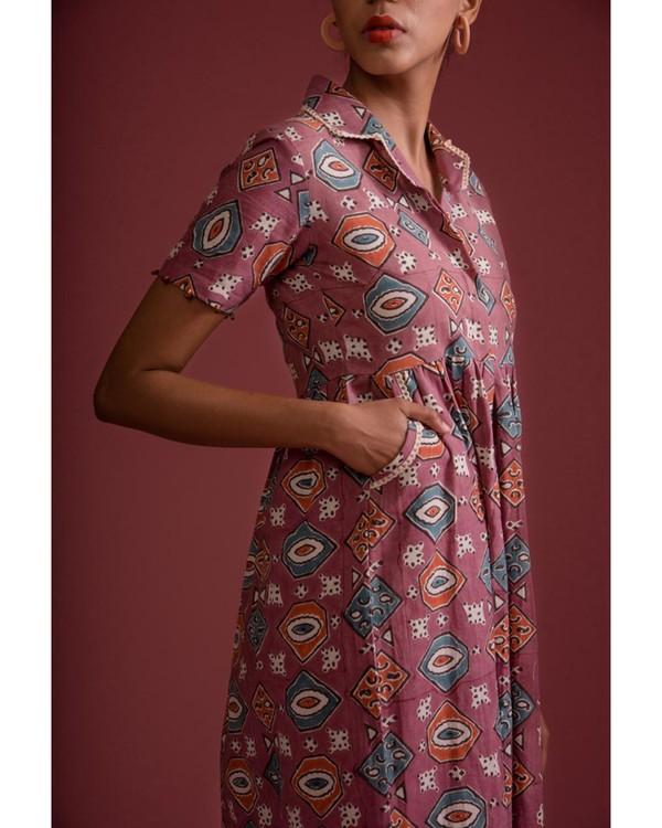 Mauve afro hand block printed retro dress 2