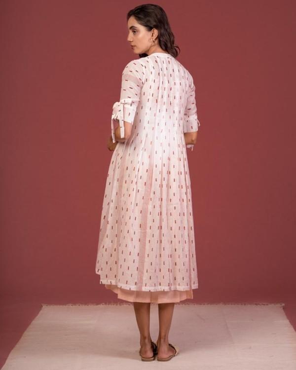 Ecru tie-up sleeve jacket and peach dress set- Set Of Two 2