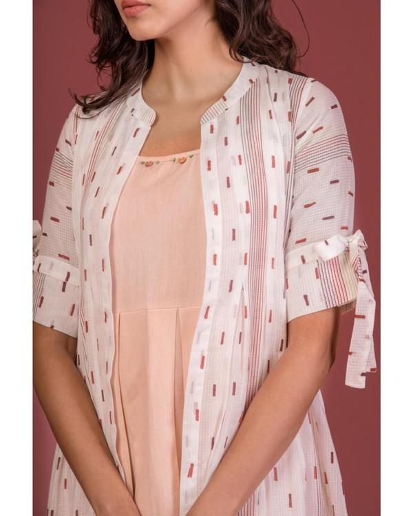 Ecru tie-up sleeve jacket and peach dress set- Set Of Two 1