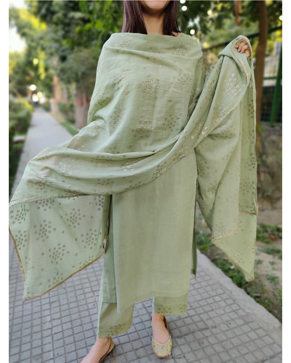 Leaf green cotton suit set - set of three 4