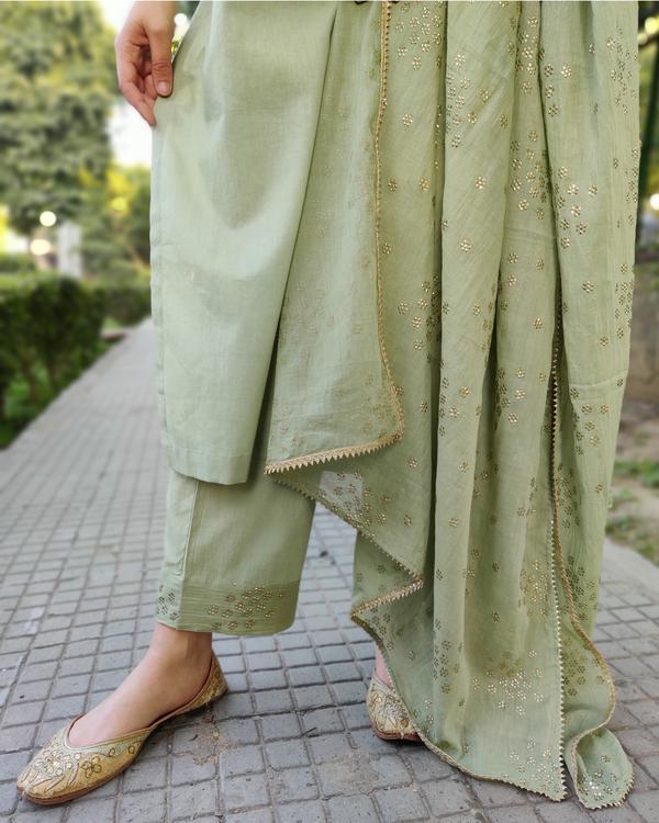 Leaf green cotton suit set - set of three 3