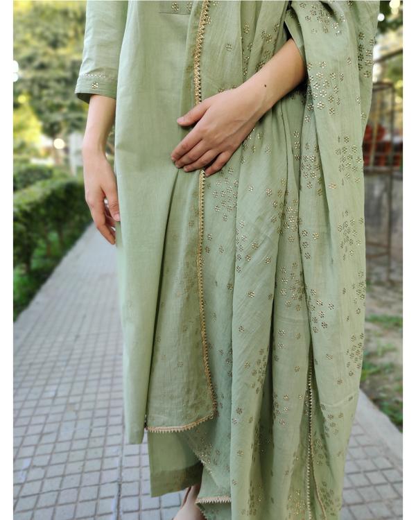 Leaf green cotton suit set - set of three 2