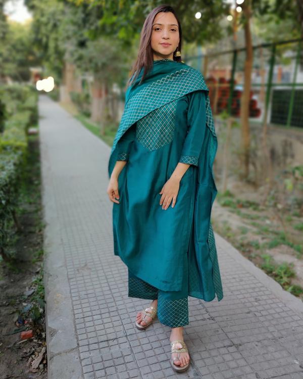 Teal green block printed muslin silk suit set - set of three 1