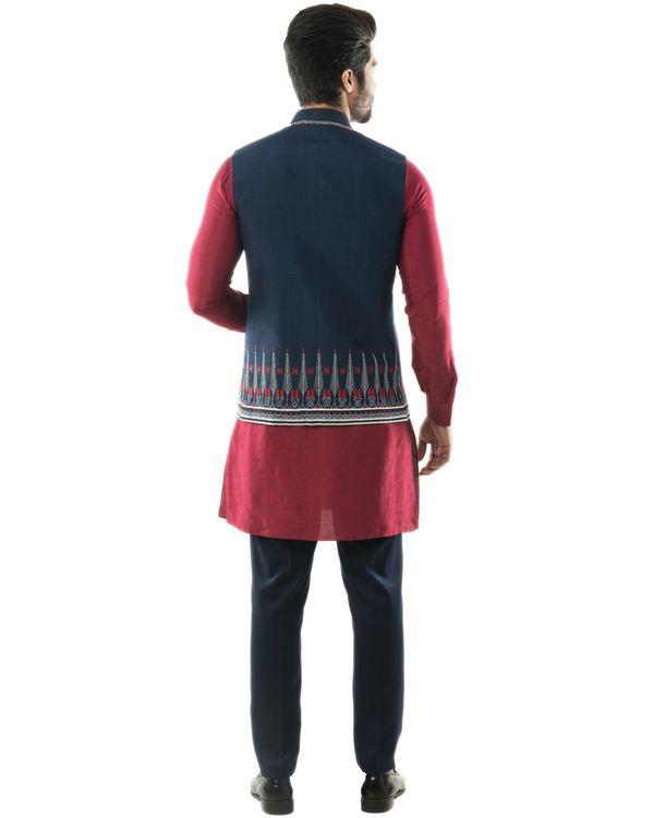 Blue Aztec embroidered Nehru jacket 3