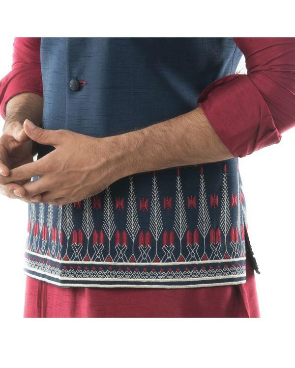 Blue Aztec embroidered Nehru jacket 1
