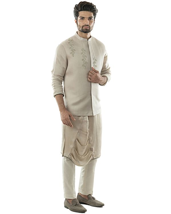 Oyster grey embroidered Nehru jacket 1