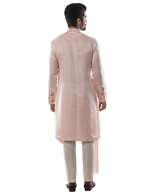 Dusty pink zardozi embroidered asymmetrical kurta 3
