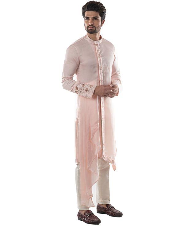 Dusty pink zardozi embroidered asymmetrical kurta 2