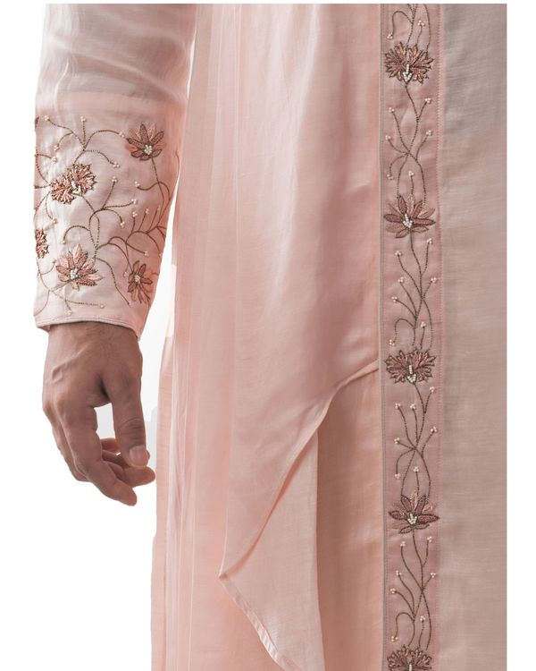 Dusty pink zardozi embroidered asymmetrical kurta 1
