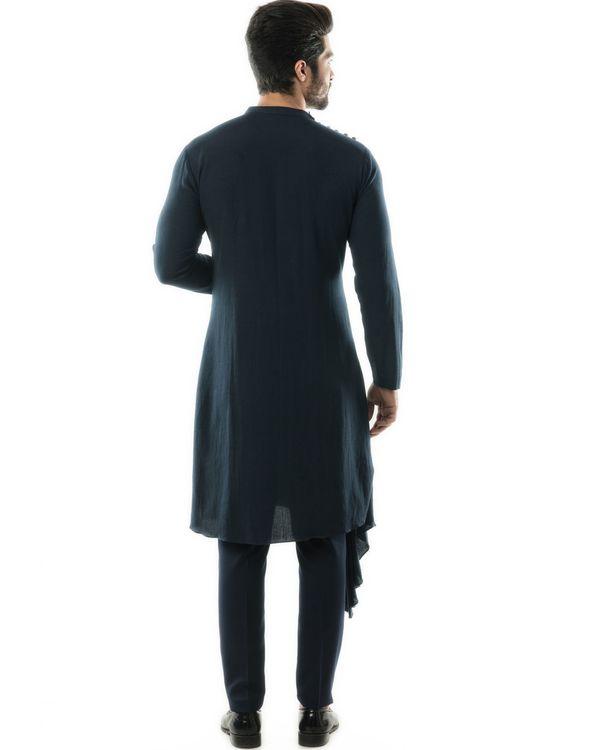 Navy blue cowl kurta and pants set- Set Of Two 3