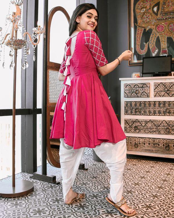 Magenta pink gota kurta and dhoti set- Set Of Two 3