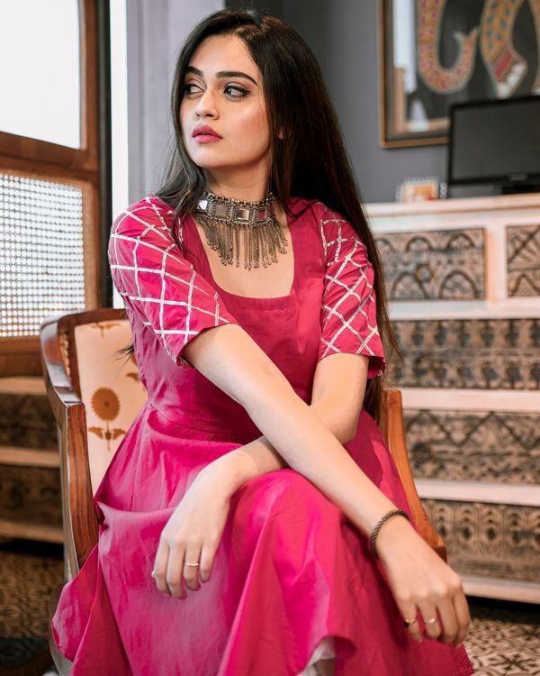 Magenta pink gota kurta and dhoti set- Set Of Two 1