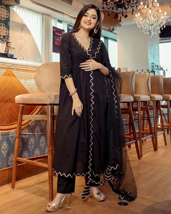 Black angrakha anarkali kurta and pants with dupatta- Set Of Three 1