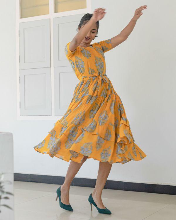 Amber yellow and grey printed dress 3