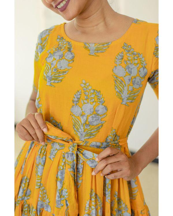 Amber yellow and grey printed dress 2