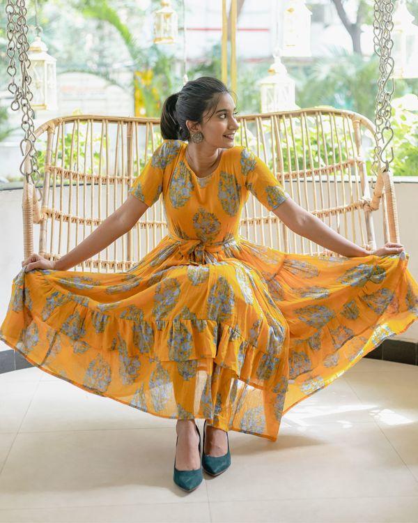 Amber yellow and grey printed dress 1