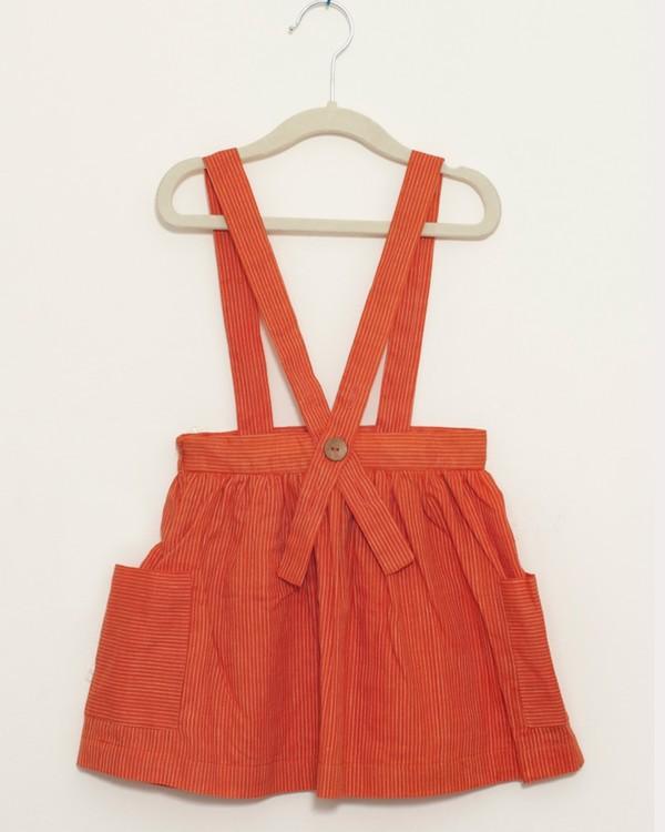 Tangerine dungaree skirt 2