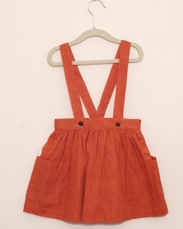 Tangerine dungaree skirt 1