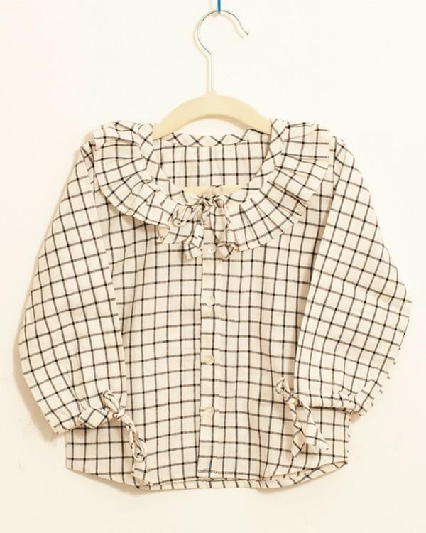 Black and white checkered ruffle shirt 1