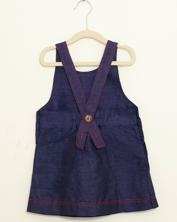 Indigo pinafore embroidered dress 2