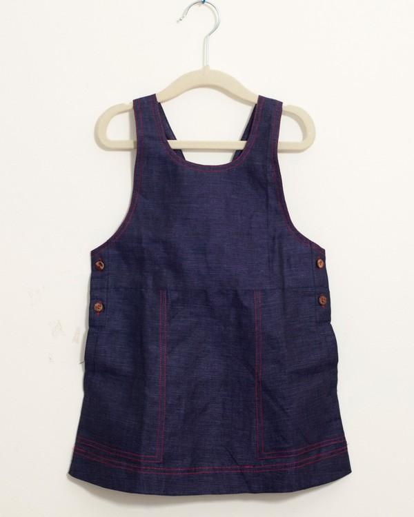 Indigo pinafore embroidered dress 1