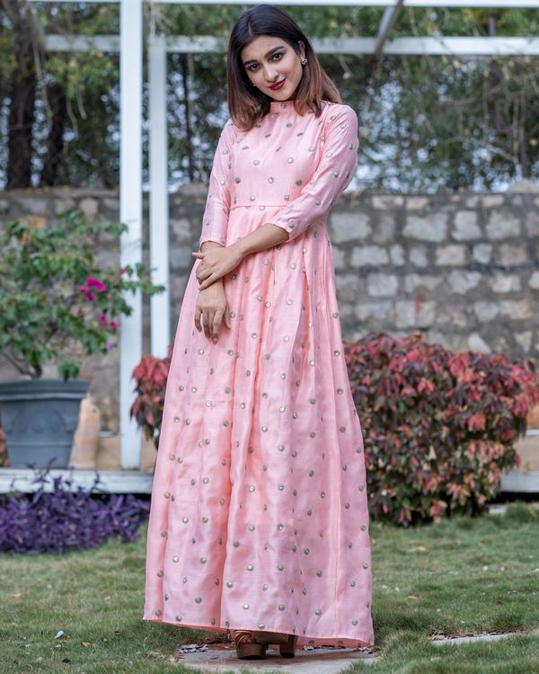 Pink embroidered box pleated chanderi dress 3