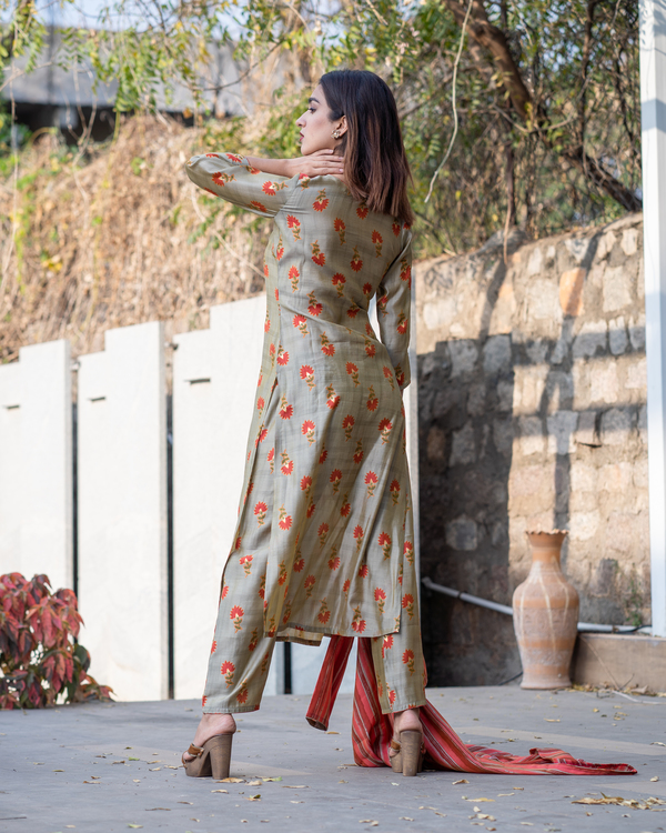 Khaki floral boota kurta and pants with red striped jacket- Set Of Three 5