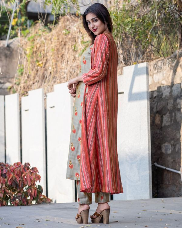 Khaki floral boota kurta and pants with red striped jacket- Set Of Three 2