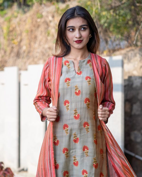 Khaki floral boota kurta and pants with red striped jacket- Set Of Three 1