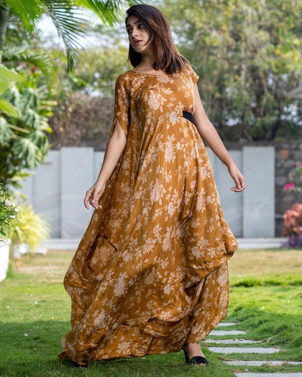 Cider orange floral dress with side belt 3