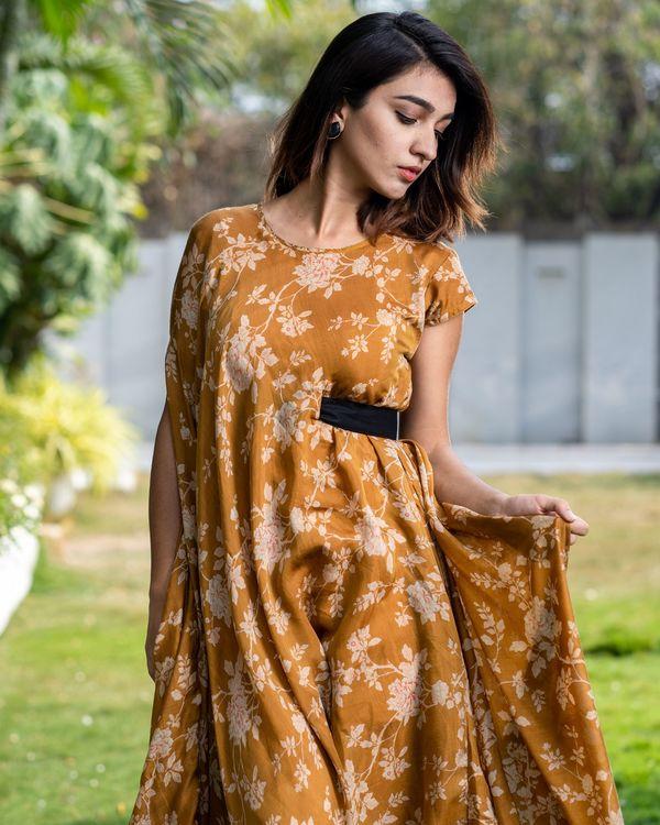 Cider orange floral dress with side belt 1