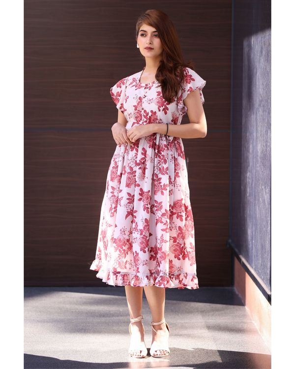 Pink and white floral midi dress 2