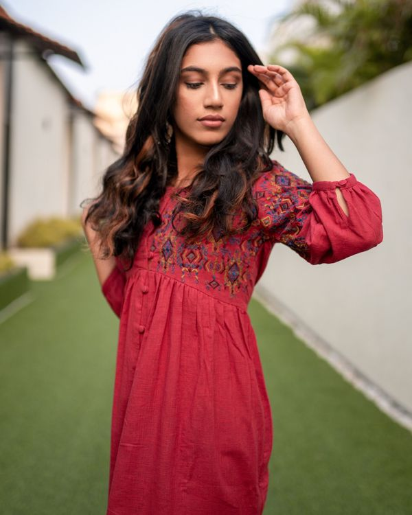 Red front open embroidered dress 1