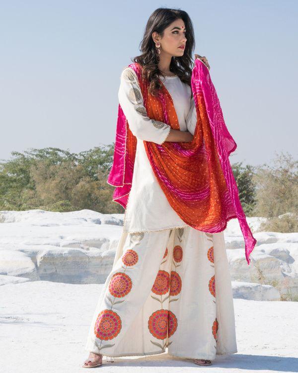 Off white floral gota kurta and sharara with bandhani dupatta- Set Of Three 1