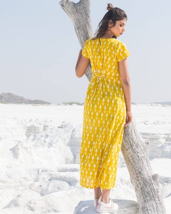 Yellow and white ikat buttoned dress 2