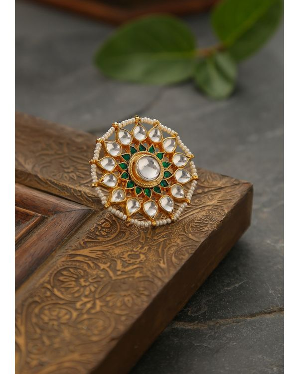 Classic polki and pearls ring 2