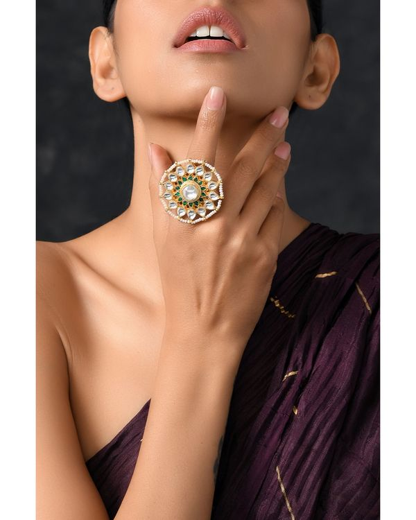 Classic polki and pearls ring 1
