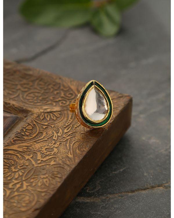 Green Drop shaped polki ring 2