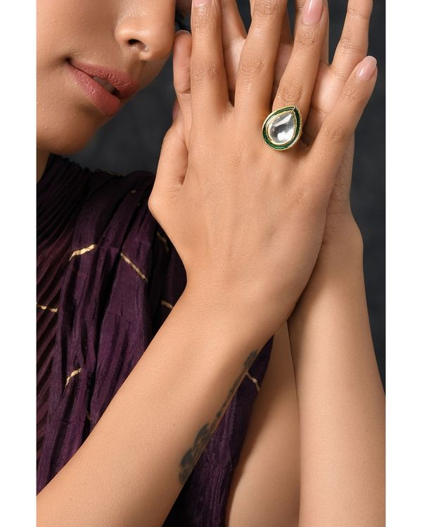 Green Drop shaped polki ring 1
