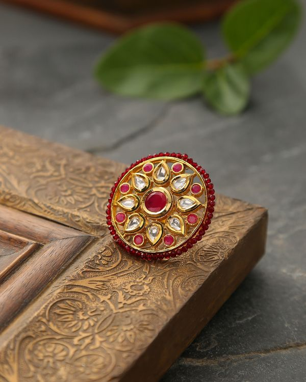 Red floral kundan ring 1