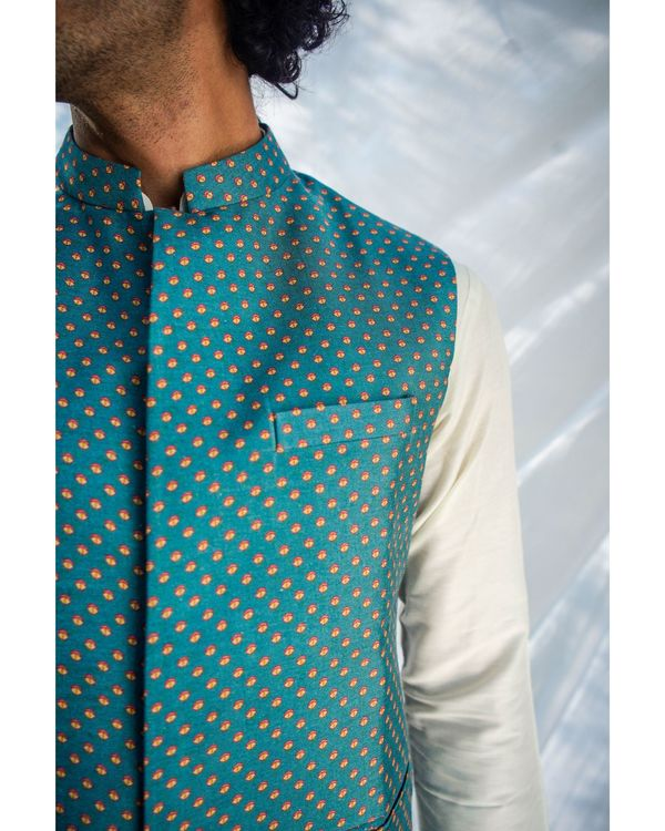 Blue and yellow printed nehru jacket 1