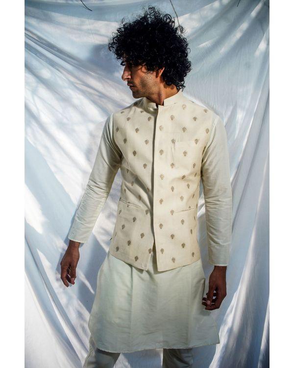 Beige and gold motif nehru jacket 2