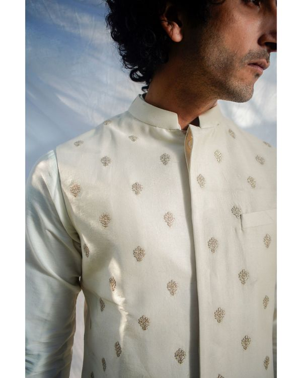 Beige and gold motif nehru jacket 1