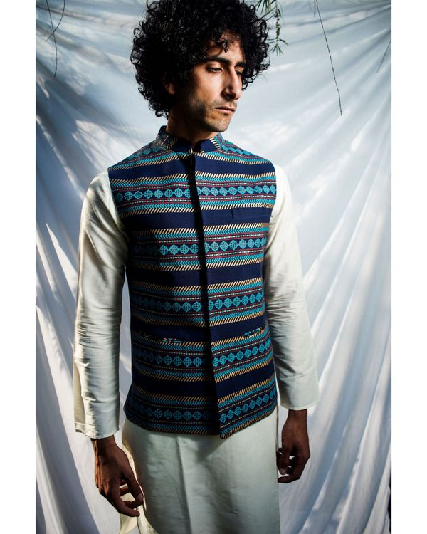 Navy blue floral striped nehru jacket 2