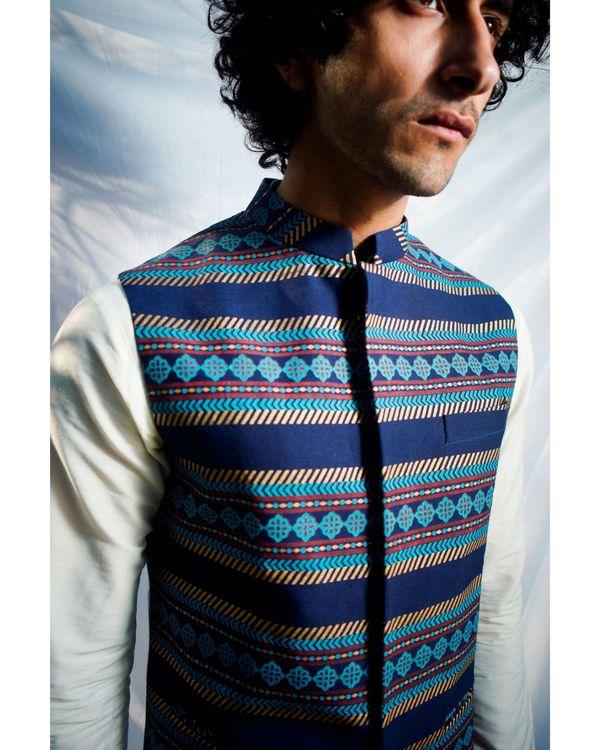 Navy blue floral striped nehru jacket 1
