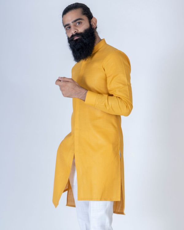 Mustard yellow asymmetrical kurta 2