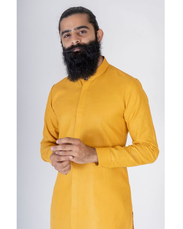 Mustard yellow asymmetrical kurta 1