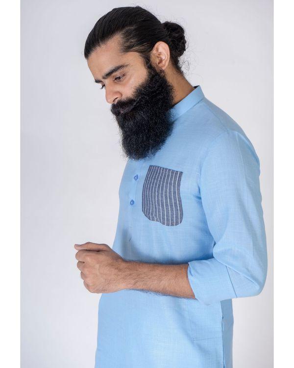 Blue patch pocket kurta 2